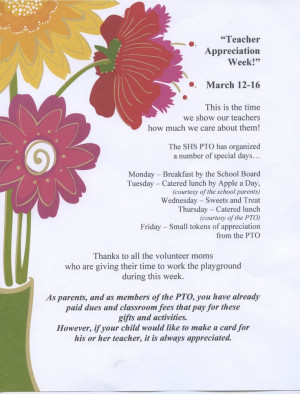 teacher appreciation week 2013 | Teacher Appreciation Week ...