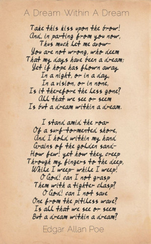 Allan Poe Love Quotes Tumblr A dream within a dream - edgar allan poe ...