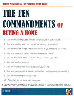 The 10 Commandments of Buying a Home #homebuyer #realestate # ...