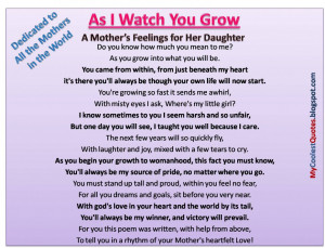 Quotes About Daughters Love For Parents: A Mothers Feelings For Her ...