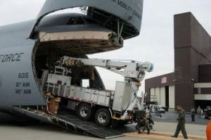 SCE Power Electric Utility company flown C-5B Galaxy Jumbo Jet.