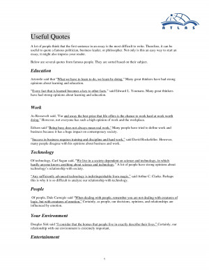 Useful Essay Quotes by atlasenglish