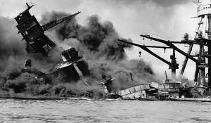 Pearl Harbor attack: battleship sinking [Credit: National Archives ...