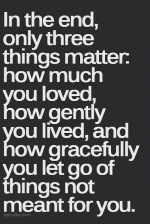 In the end, only three things matter: How much you loved, how gently ...