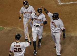 Hunter Pence Buster Posey Marco Scutaro Pablo Sandoval picture