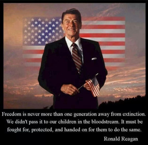 Ronald Reagan. Just wondering how long Americans will be free! A ...