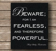 Frankenstein, Mary Shelley, Wall Art Typography Print, Quote Print ...