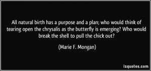All natural birth has a purpose and a plan; who would think of tearing ...