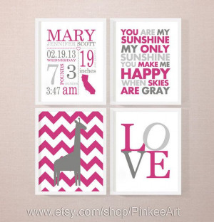 baby girl birth stats, girl birth announcement with nursery quote ...