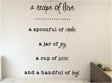 Recipe Of Love - Bedroom Kitchen Vinyl Wall Decals Quotes - Vinyl ...