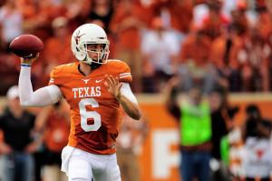 AUSTIN, TX - NOVEMBER 16: Case McCoy #6 of the Texas Longhorns drops ...