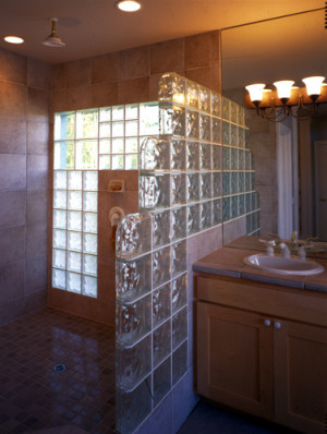 glass block shower walls
