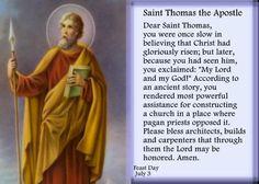 St. Thomas the Apostle. Thomas the Apostle, also called Doubting ...