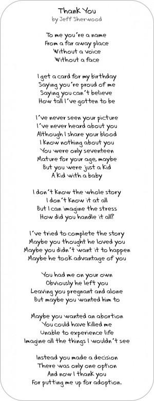 HiLLmark Design . Adoption Poem . Thank you . by Jeff Sherwood