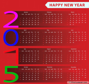 2015 European calendar with Happy New year