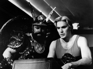 William Hootkins and Sam J. Jones in Flash Gordon.