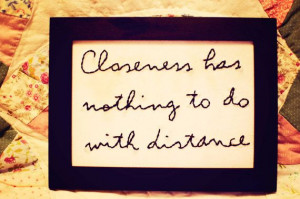 long distance quote hand stitched in a frame-long distance, friendship ...
