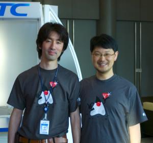 Koichiro Ohba and Yukihiro Matsumoto modeling JRuby T-shirts