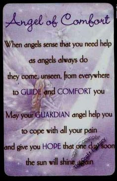 Angel of Comfort - When angels sense that you need help as angels ...