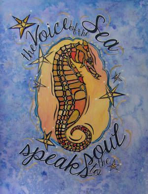 Blue Sea Seahorse Art Print - Sea Inspired Decor - Sea Creature Image ...