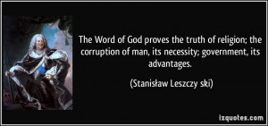 The Word of God proves the truth of religion; the corruption of man ...