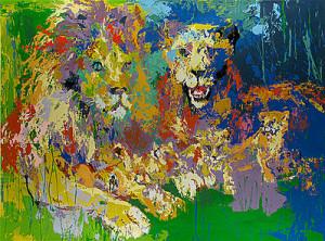 leroy neiman nieman lions pride cats safari africa