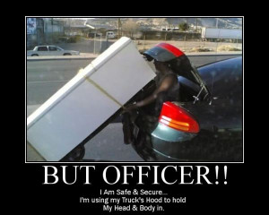 car-humor-joke-funny-Moving-but-officer-safe-secure-hood [ Safety In ...