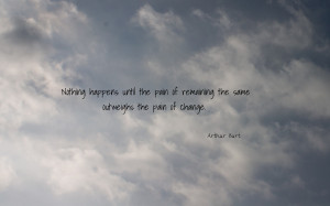 Nothing happens until the pain... quote wallpaper