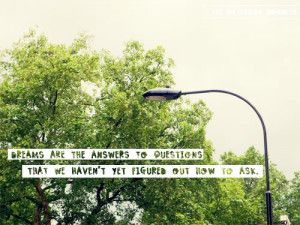 Dreams are the answers to questions that we haven't yet figured out ...