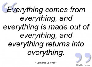 everything comes from everything leonardo da vinci
