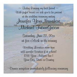 Today I Marry My Best Friend Beach Wedding Custom Invitations