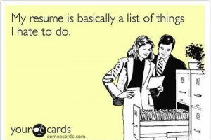 resume is list of things i hate funny
