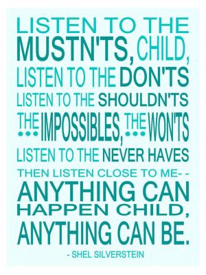 Shel Silverstein Children's Wall Art Print Anything Can Happen ...