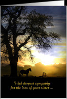Loss of sister Horse & Oak Tree in the Sunset Sympathy Card Customize ...