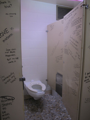 the stalls were decorated by real bathroom stall quotes that i ...