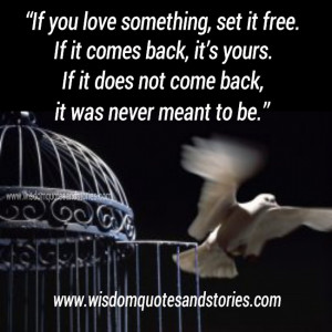 ... you love something set it free you in particular might want to start