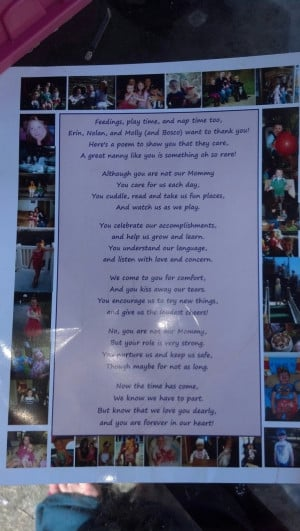 Kids thank you poem for a special nanny or babysitter