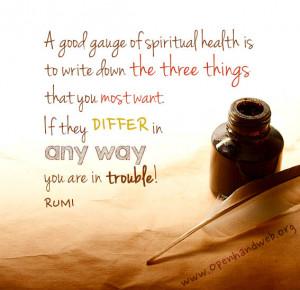 Rumi quote - spiritual health
