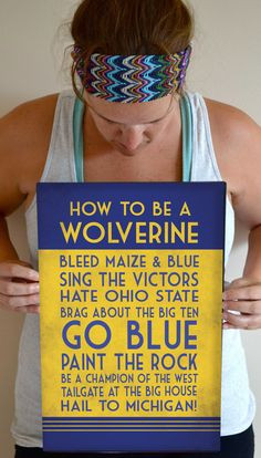 Michigan Art Print, Wolverine Quote Poster Sign, Michigan Football ...