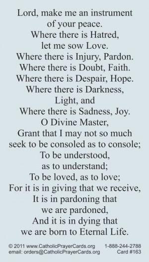 prayersforpeace | Peace Prayer of St. Francis of Assisi