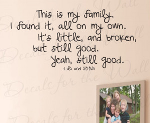 This is my Family Lilo and Stitch Wall Decal Quote
