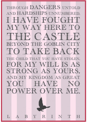 Labyrinth Sarah Movie Quote Art Print