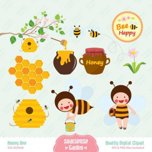 ... Bees Honey, Honey Spoons, Spoons Clips, Honey Hives, Honey Bees, Clips