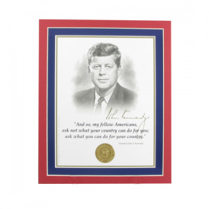 John F Kennedy Quotes Ask Not Matted jfk portrait and