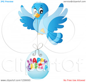 Clipart of a Blue Bird Flying with a Happy Easter Egg - Royalty Free ...