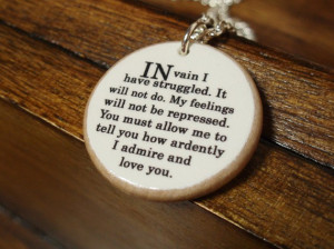 Winner of the Pride and Prejudice quote necklace...