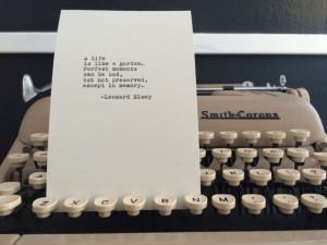 Leonard Nimoy Quote Typed on Typewriter - 4x6 White Cardstock