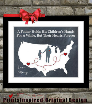 Gift For Dad Birthday Distance Map Hearts Father Quotes