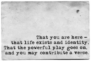 That the powerful play goes on and you may contribute a verse. ~Walt ...