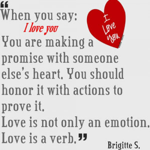 When you say I love you ,you are making a promise with someone else ...